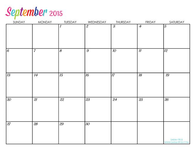 Custom Editable Free Printable 2015 Calendars - Sarah Titus ...