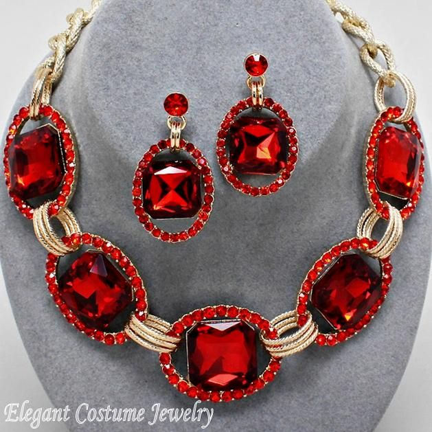 Ruby Red Gold Chunky Crystal Statement Necklace Set Elegant Costume