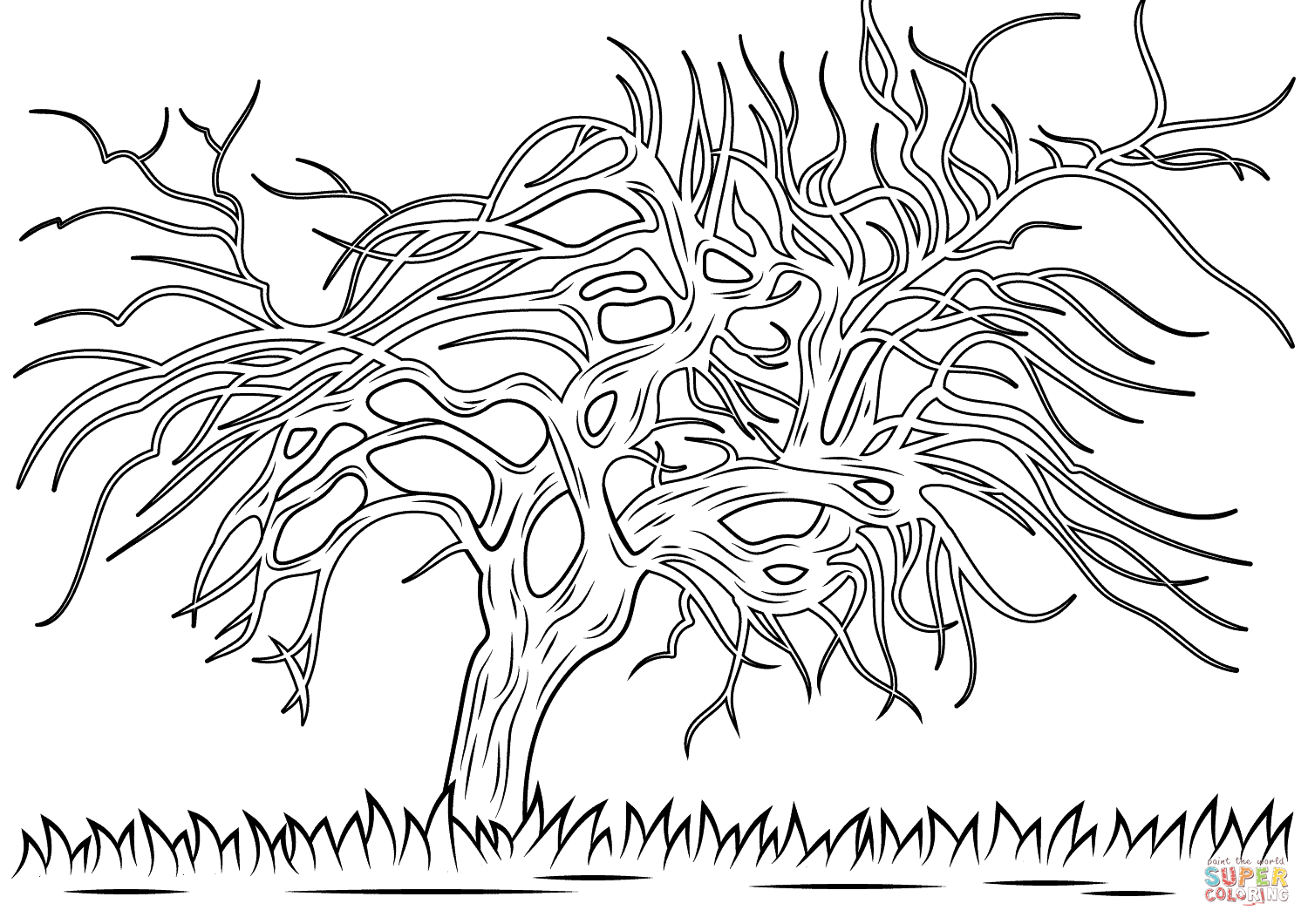 Avond Evening The Red Tree By Piet Mondrian Coloring Page