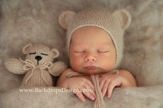 Newborn Angora Bear Bonnet and teddy bear toy set Photography prop Crochet knited newborn hat