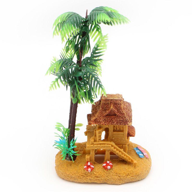 Simulation Coconut Tree Castle Aquariums Ornaments Fish Tank Decor - halloween fish tank decorations