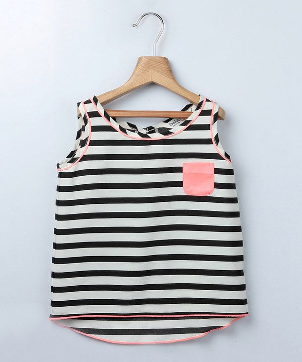 Look at this Beebay Black & Pink Stripe Tank Top - Girls on #zulily today!