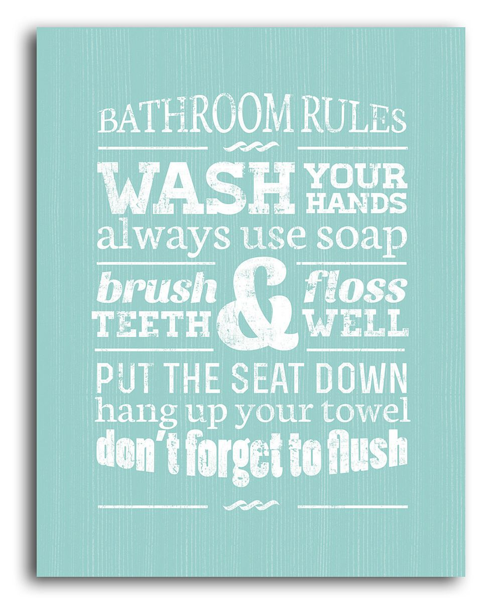 Marvelous Green Bathroom Rules Wall Art