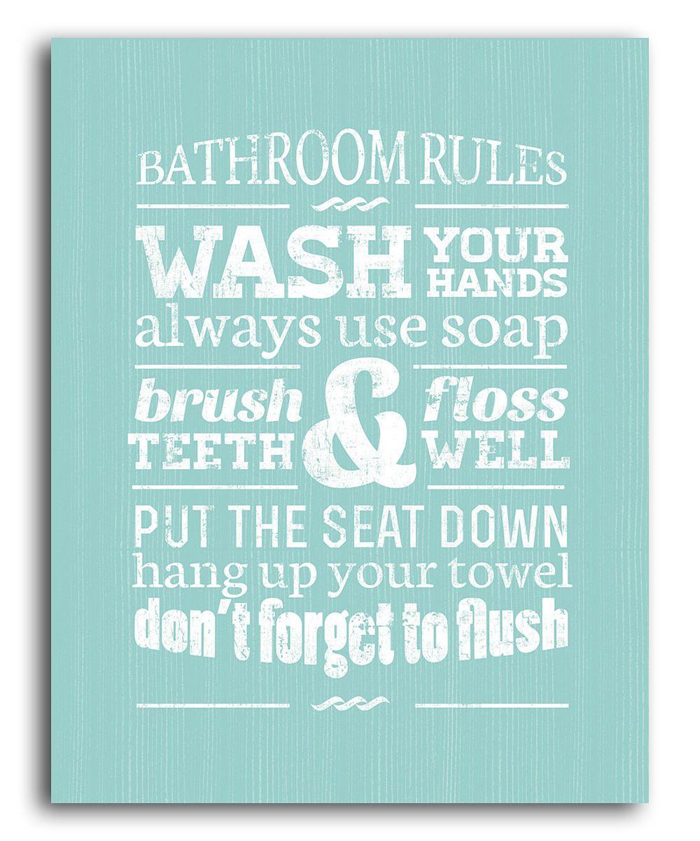 Delightful Green Bathroom Rules Wall Art