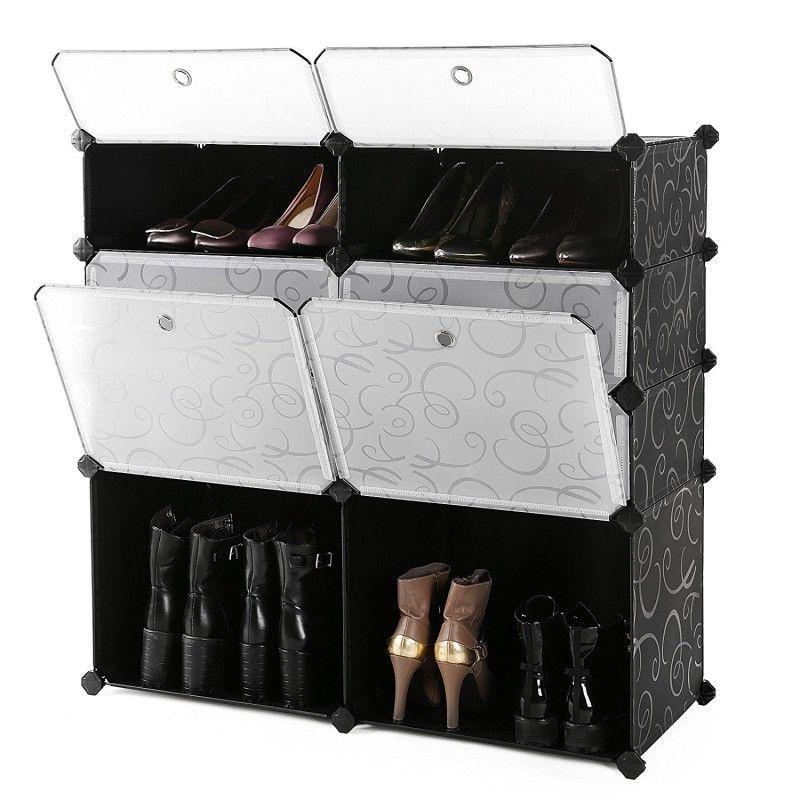 Diy Shoe Rack Plastic Shoe Storage Organizer Cabinet With Doors