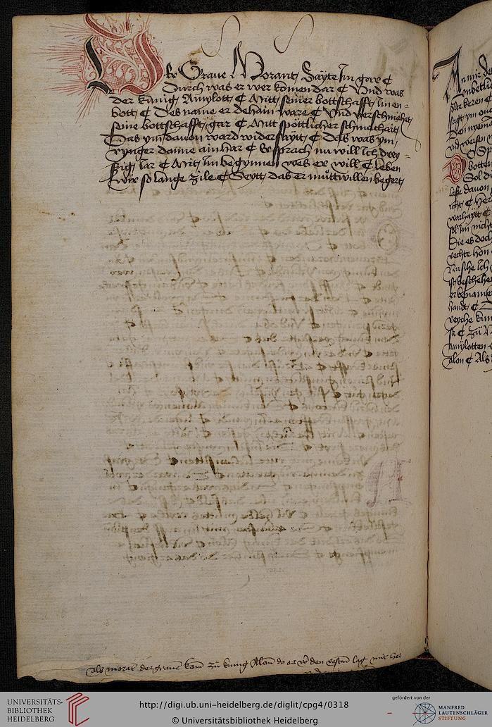 Cod. Pal. germ. 4 Rudolf von Ems: Willehalm von Orlens ; Dietrich von der Glesse: Der Gürtel (Borte) ; Peter Suchenwirt: Liebe und Schönheit u.a. — Schwaben/Grafschaft Oettingen (?), 1455-1479 150v