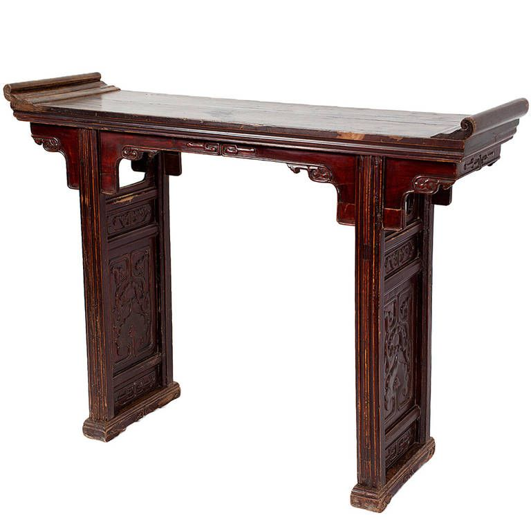 Antique Chinese Walnut Wood Altar Table Console With Everted Flanges