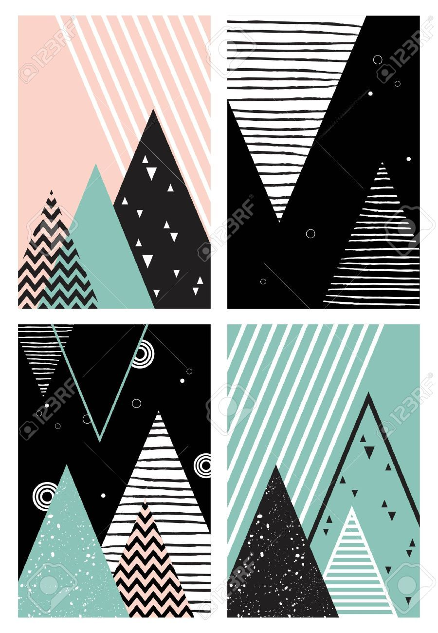 Abstract Geometric Scandinavian Style Pattern With Mountains Trees And Triangles Vector Illustration Illustration Ad Style Pattern Scandi Oboi Dizajn