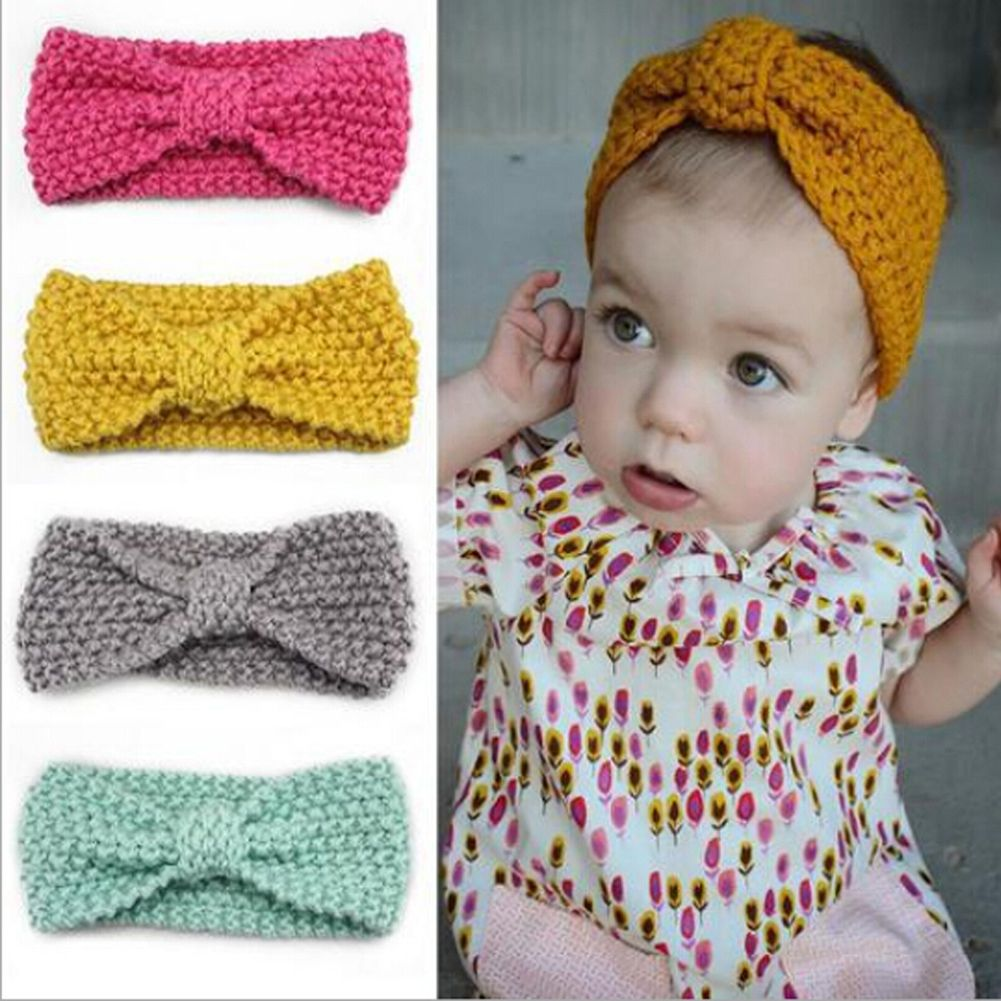 Baby Infant Newborn Girl Crochet Knitted Button Bow Headband Hair Band Head Wrap
