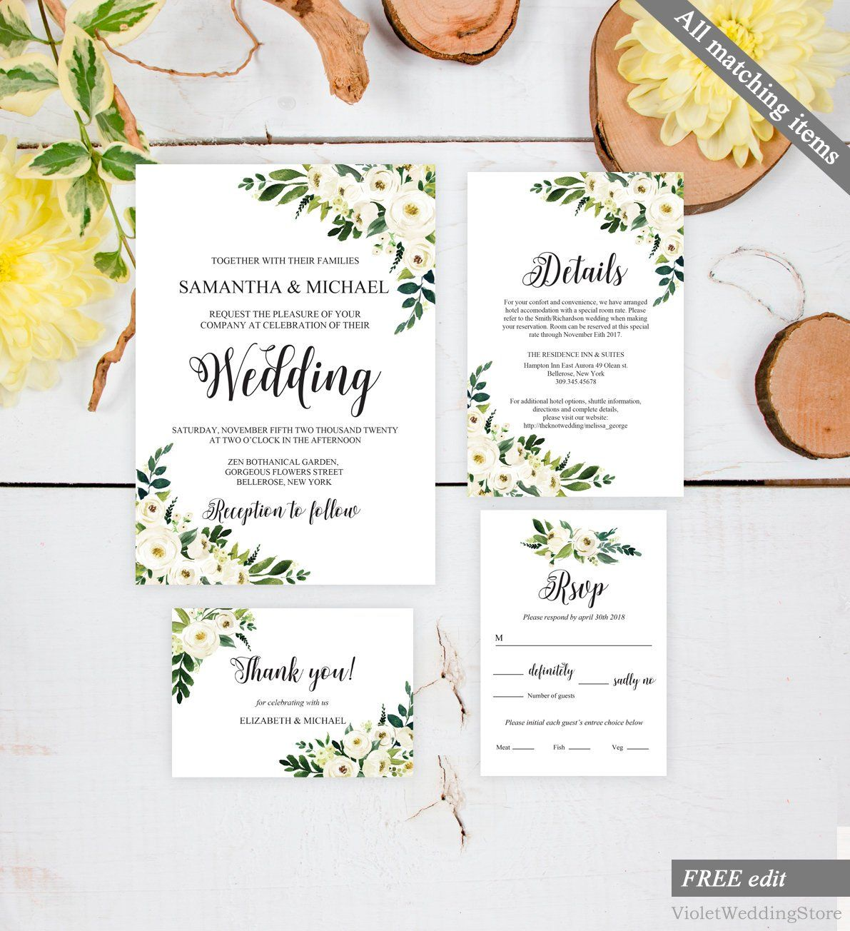 Floral Wedding Invitation Printable Wedding Invitation Wedding Invite #PCS Wedding Invitation Botantical Wedding Invitation Set
