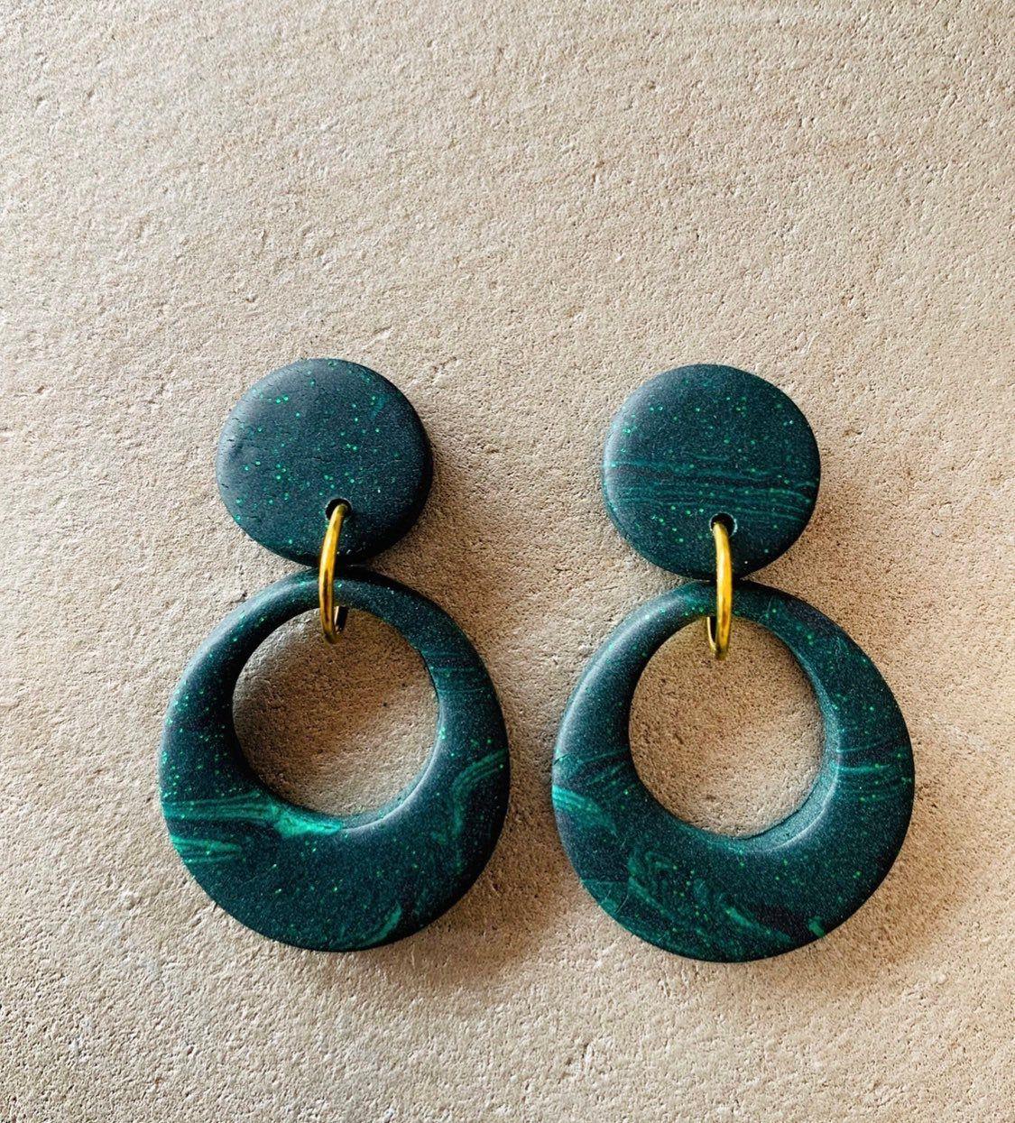 Dark Green circle Hoop Earrings