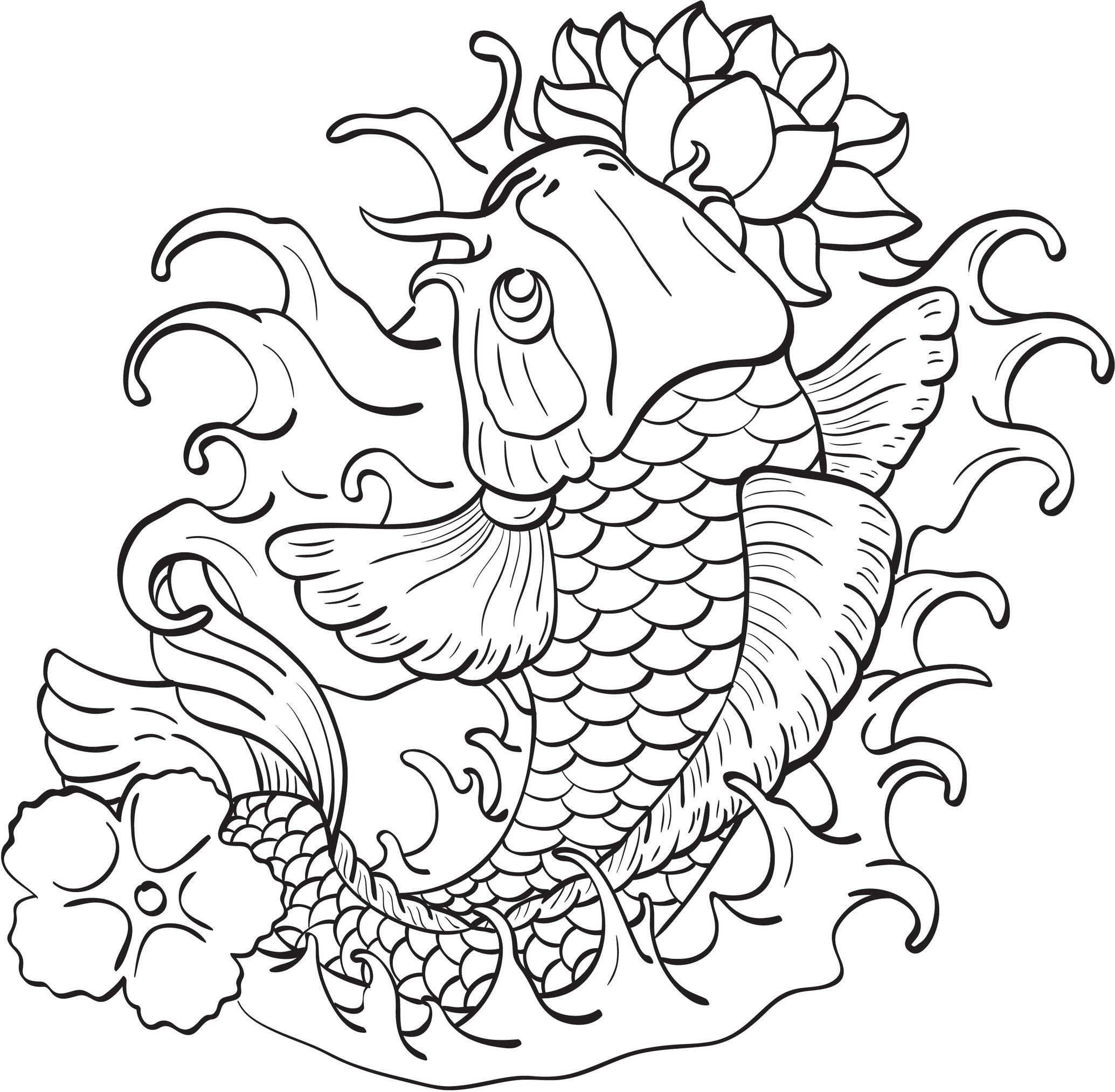 Coloriage de poisson japonnais