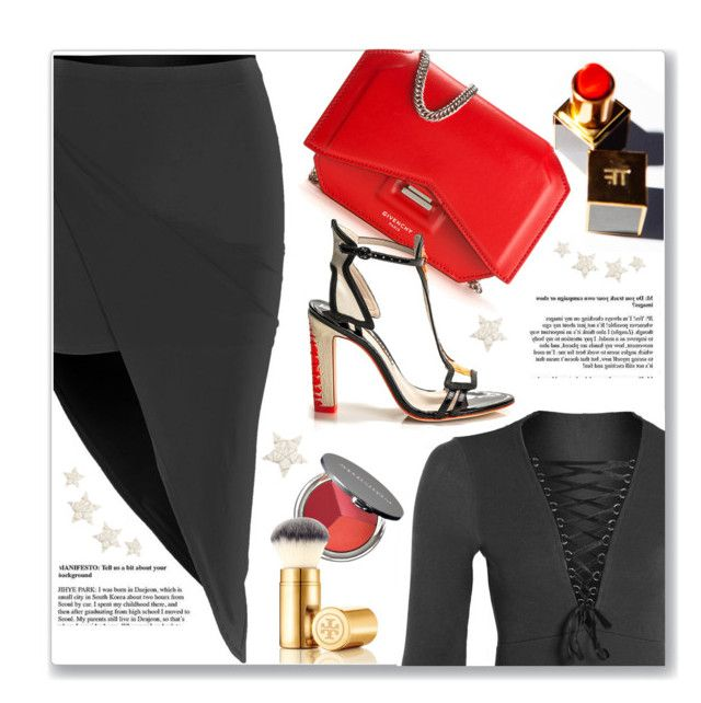 """""""Dose Of Glam"""" by luvsassyselfie ❤ liked on Polyvore featuring Givenchy, Sophia Webster, La Bella Donna, Tory Burch, black and red"""