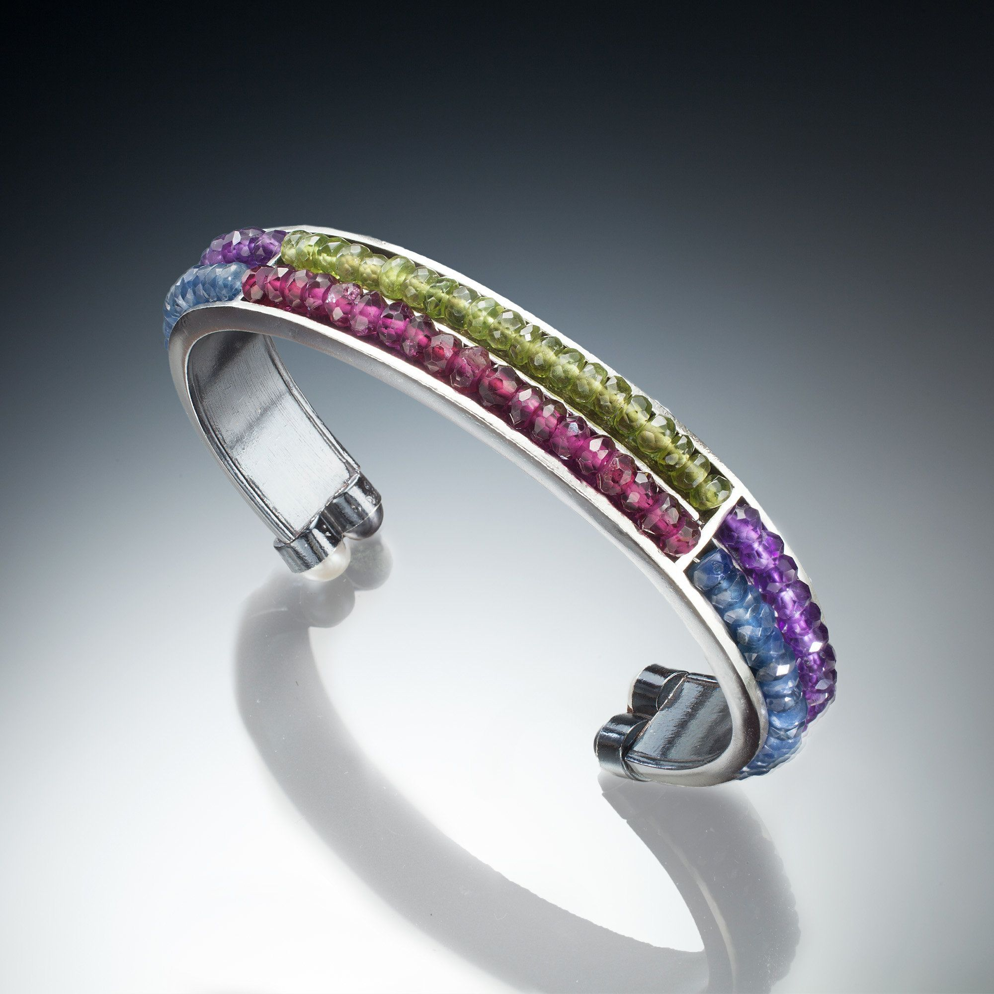 dc2620cd075 Gemstone Cuff by Susan Kinzig - Amethyst, Garnet, Iolite & Vesonite (Silver  & Stone Bracelet)