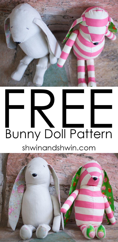 Free Bunny Doll Pattern || Shwin&Shwin | Sew for Baby | Pinterest ...