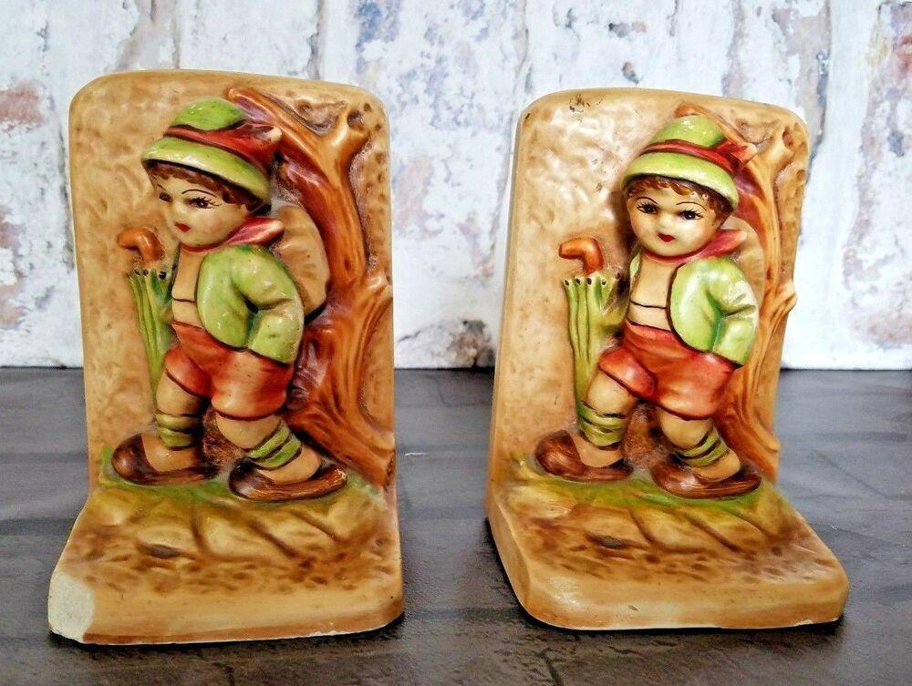Chalkware Hummel Like Figurines Book Ends