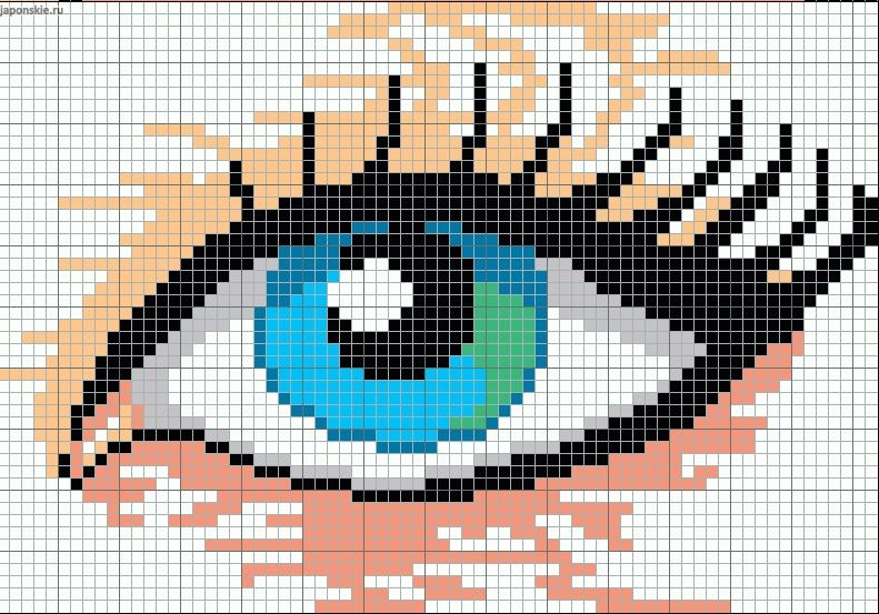 beautiful woman u0026 39 s eye pattern   chart for cross stitch  knitting  knotting  beading  weaving