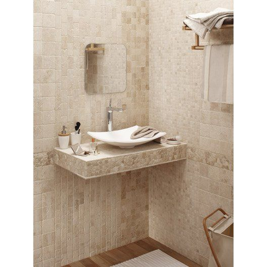 mosa que sol et mur mineral ivoire sdb carrelages pinterest travertin ivoire et mosaique. Black Bedroom Furniture Sets. Home Design Ideas
