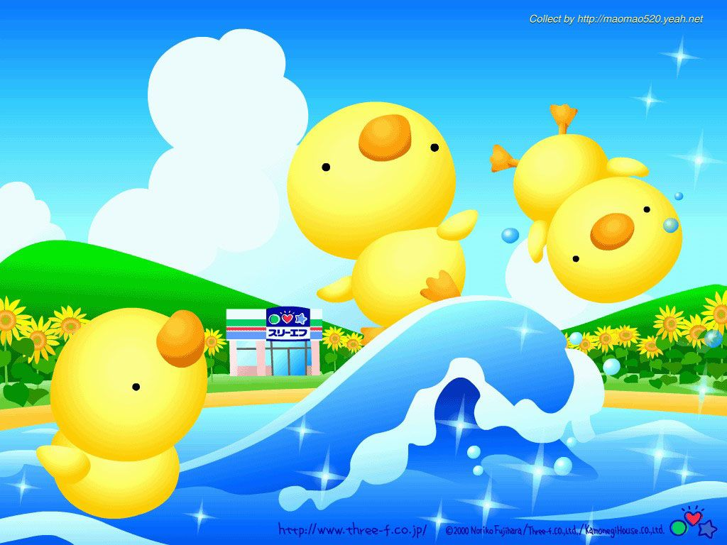 Japanese cartoon wallpaper hey what cute ducks looks fun - Cute asian cartoon wallpaper ...