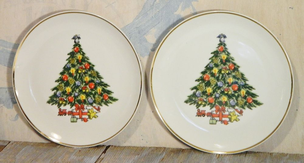 Vintage Mount Clemens Christmas Tree China Salad Plates Dishes Gold Trim 2 Christmas Plates Gold Trim Festival Decorations