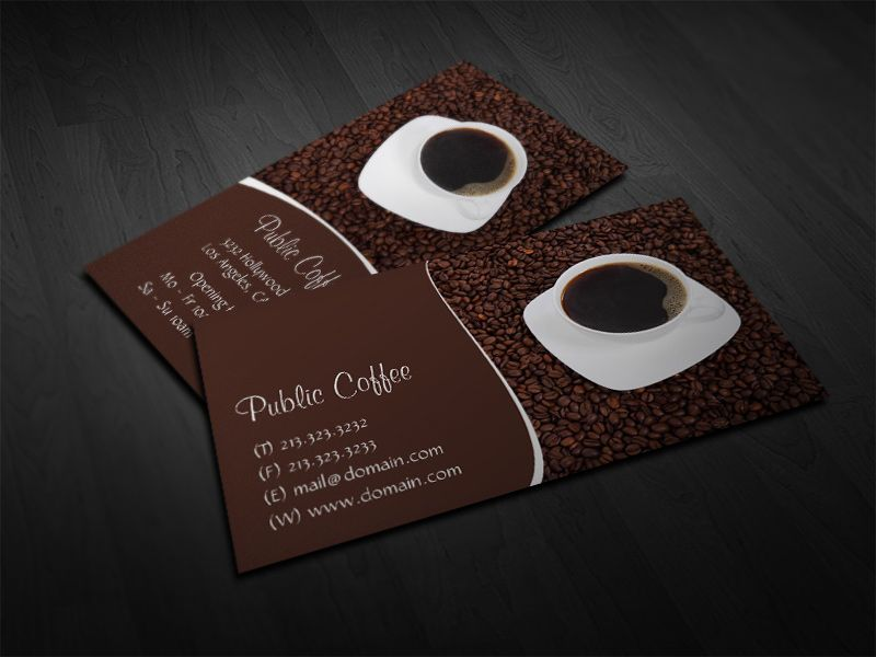 Coffee Business Cards, Coffee Cup and Beans Business Cards by J32 ...