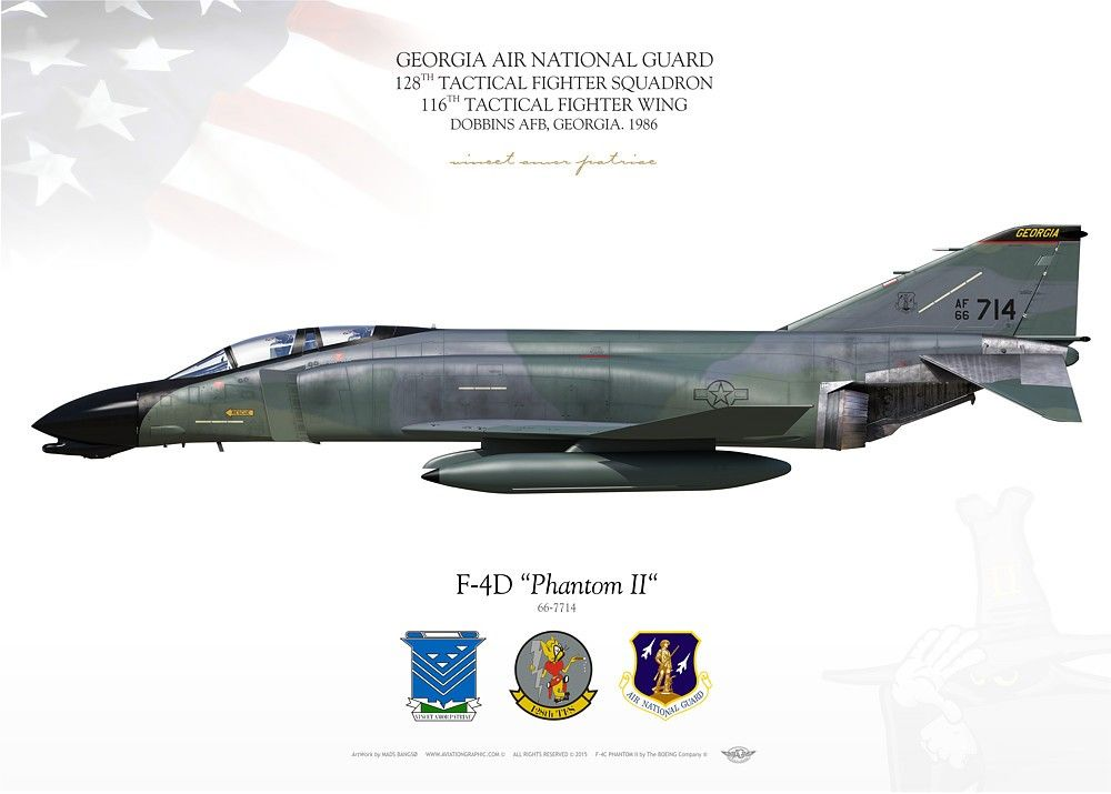 UNITED STATES AIR FORCE Georgia Air National Guard . 128TH TACTICAL FIGHTER SQUADRON . 116TH TACTICAL FIGHTER WING. DOBBINS AFB, GEORGIA. 1986