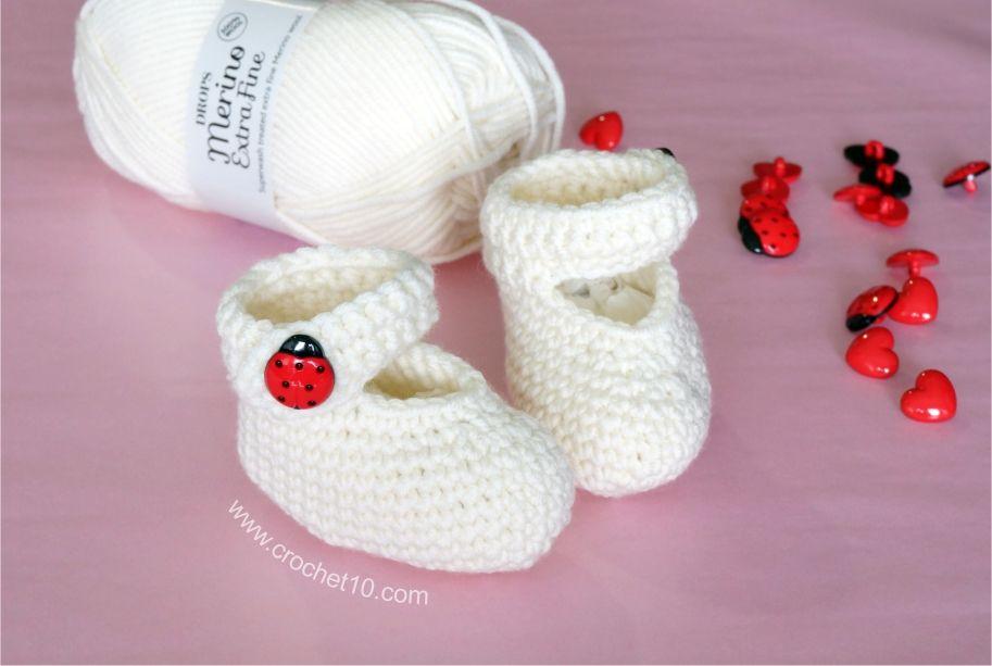 Zapatitos de bebé a ganchillo. Patrón con diagrama gratis en crochet10.com