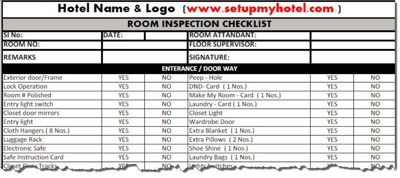 Hotel Room Checklist Housekeeper Room Checklist Room