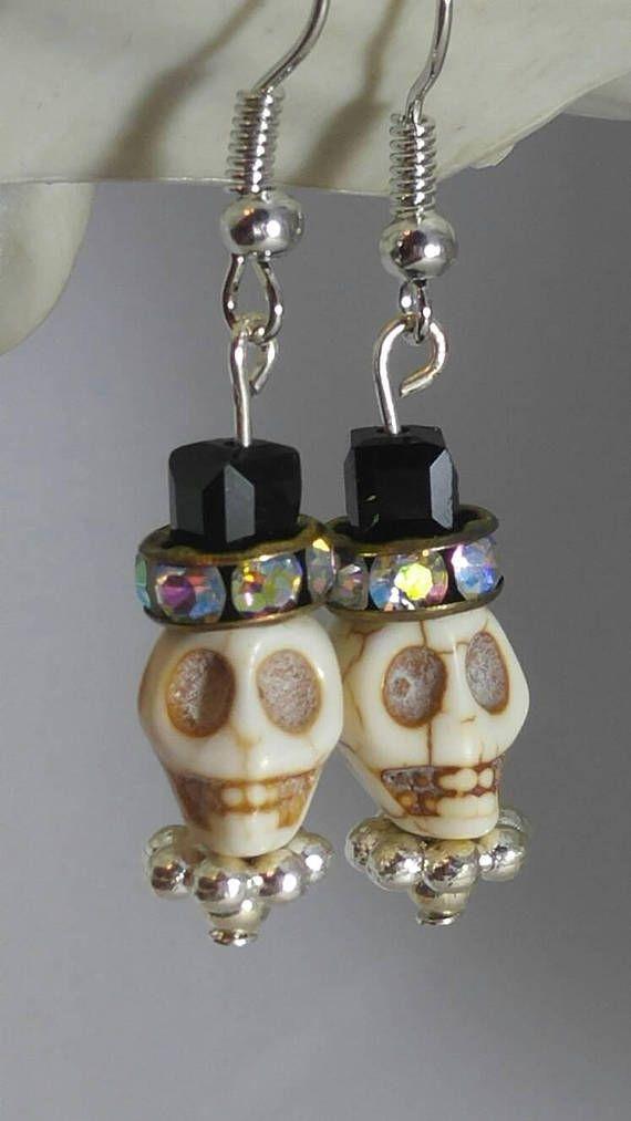 fb492fb3a Skull Earrings, Skulls, Day of the Dead Earrings, Skull with Hat ...