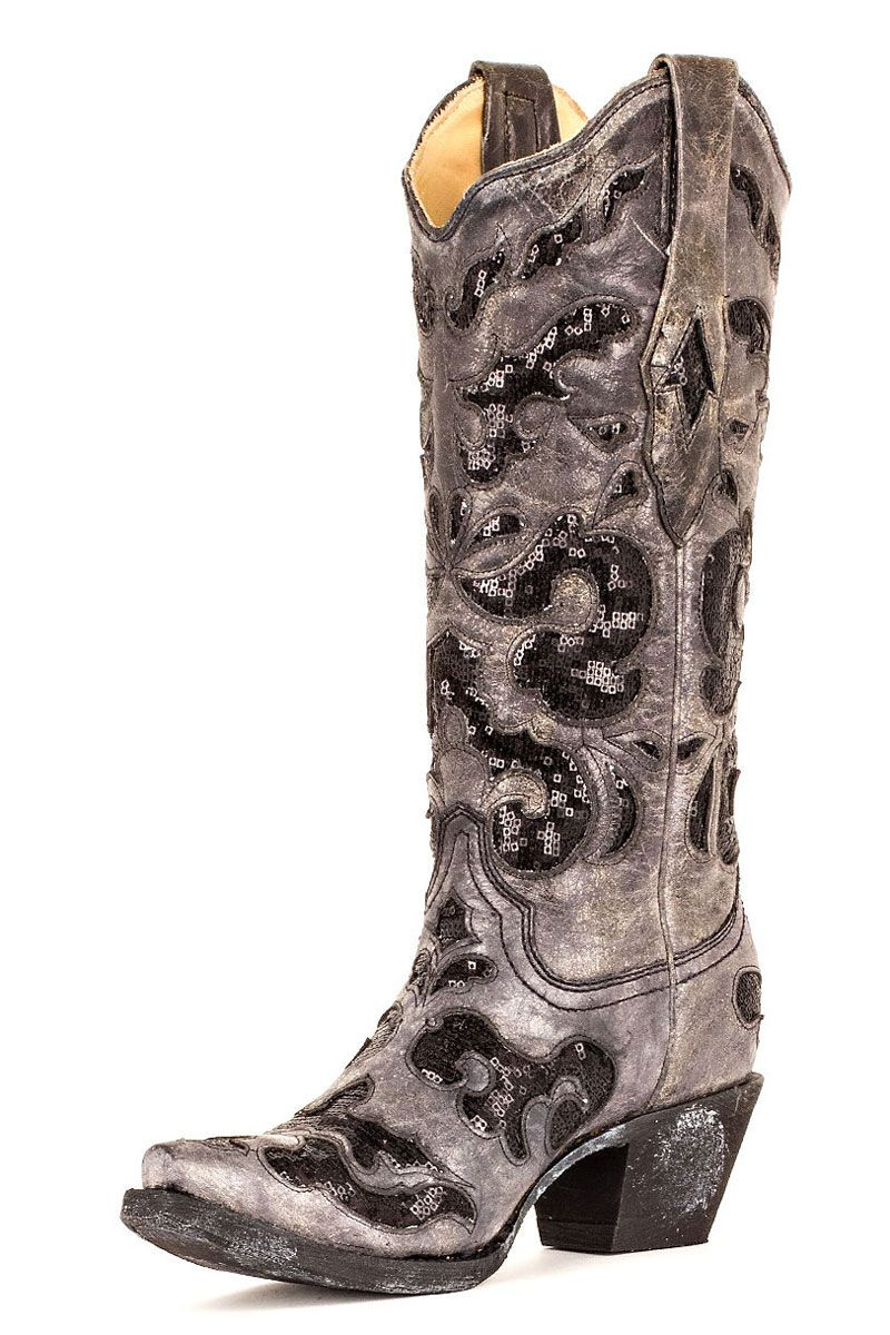 Corral Women's Black Crater With Sequence Inlay Cowgirl Boots ...