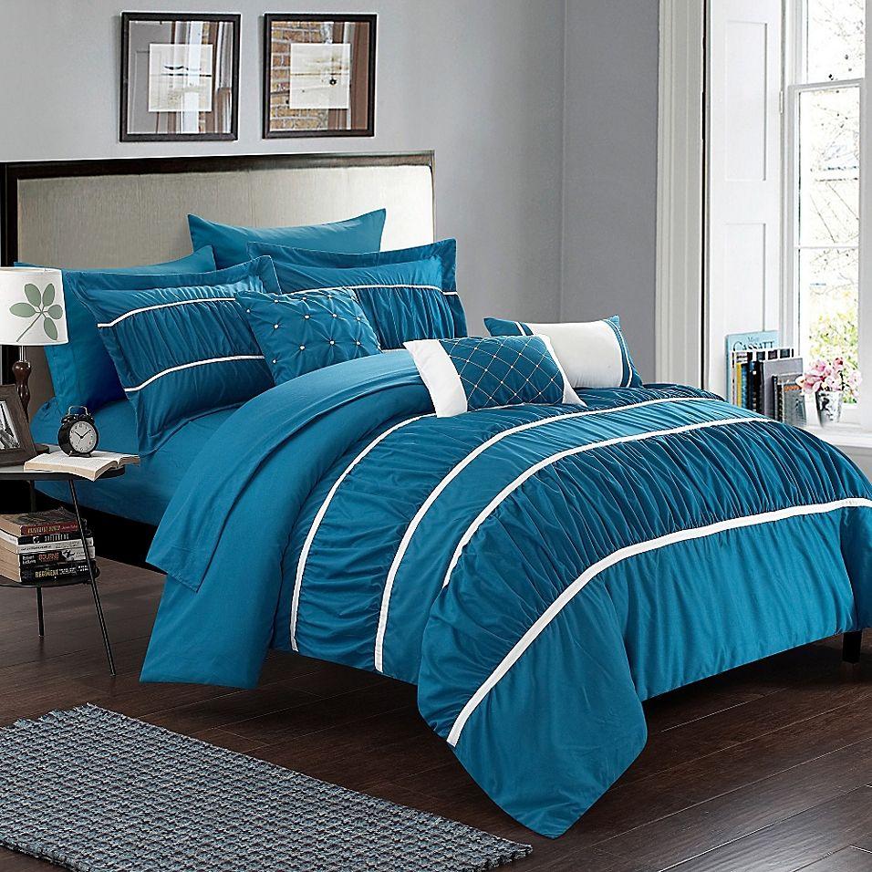 Chic Home Aero 10 Piece Queen Comforter Set In Teal