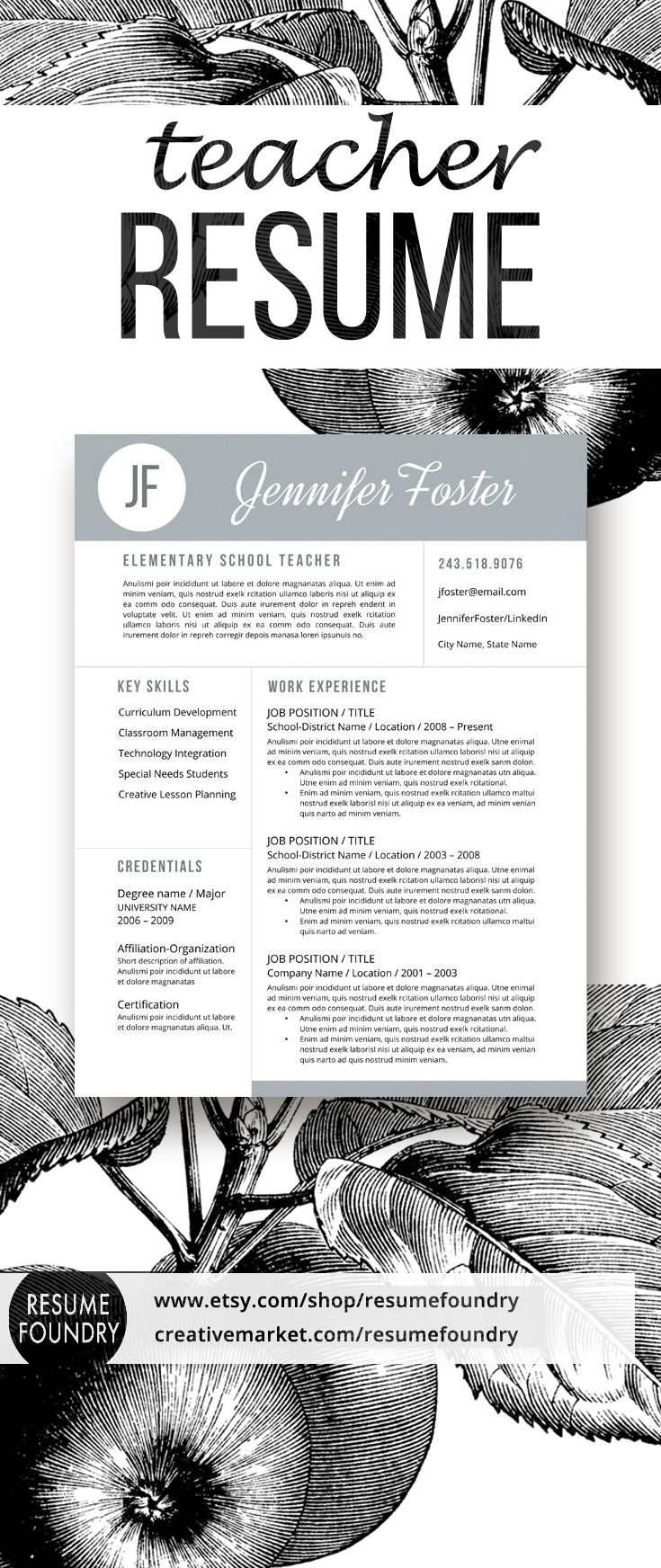 teacher resume template for word  1