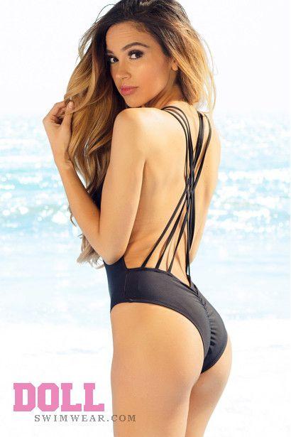 54cca9a4254e1 Acacia Black Strappy Crisscross Back Sexy High Cut One Piece Swimsuit