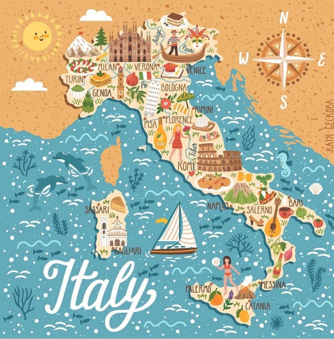 Italien Italy Map Travel Symbols Illustrated Map