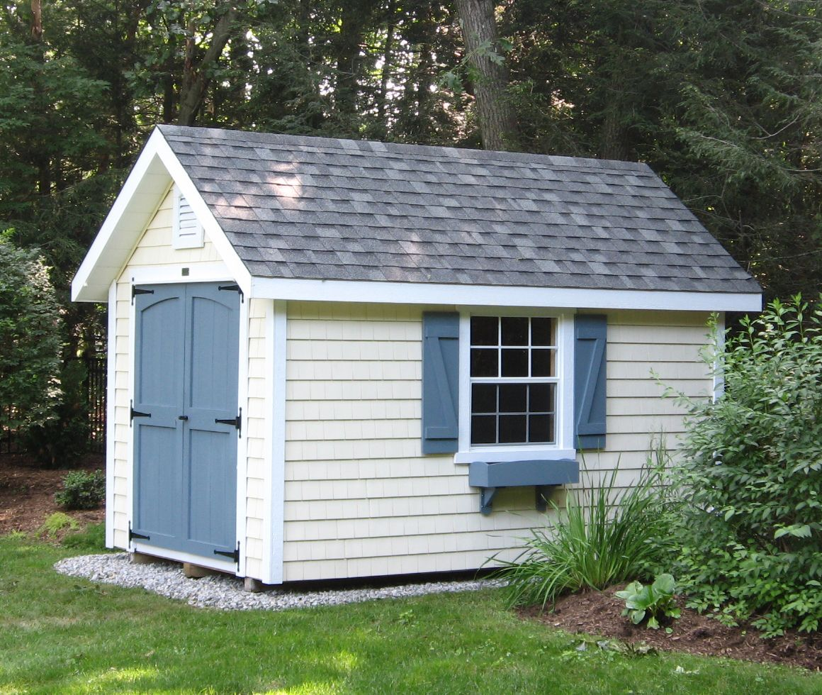 This English Garden Shed Features Vinyl Cedar Shakes For Siding It Gives This 8 X 12 Building A Whole New Look Shed Backyard Sheds Garden Shed