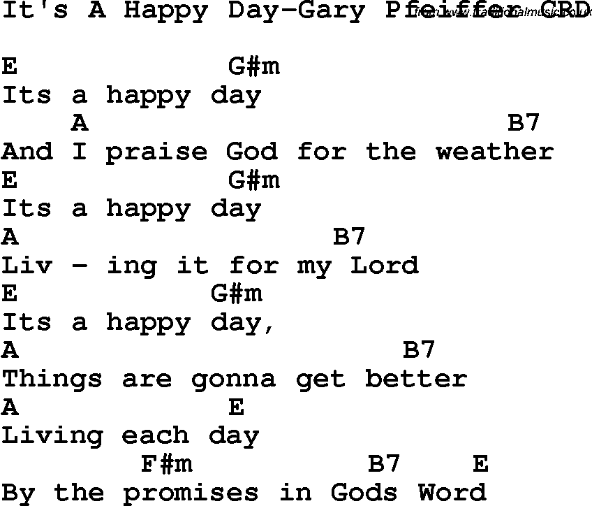 Lyric southern gospel music lyrics : Christian Chlidrens Song It's A Happy Day-Gary Pfeiffer CRD Lyrics ...