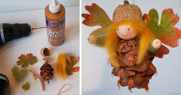 Kreatívny DIY nápad s návodom urob si sam na závesné rozprávkové ozdôbky zo šišiek v podobe lesných víl. Jesenná dekorácia, handmade prírodná ozdoba