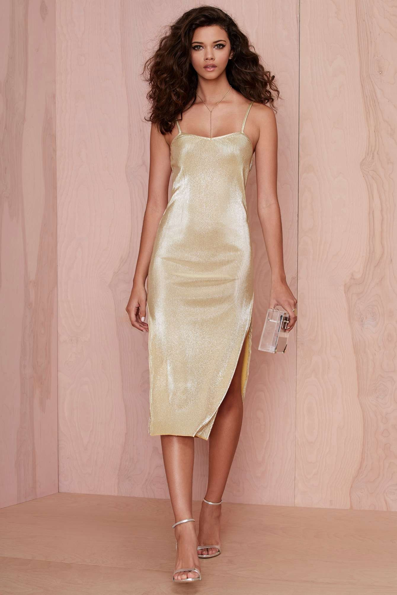 Women's Gold Sheath Dress, Silver Leather Heeled Sandals, Clear ...