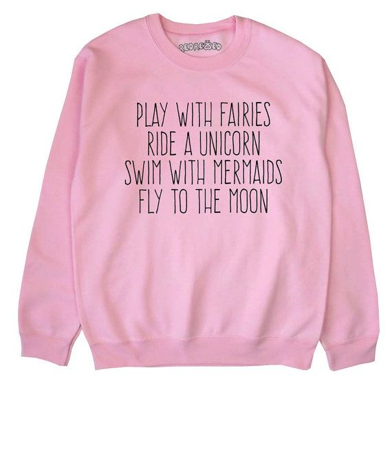 Play With Fairies Ride A Unicorn Crop Sweater Mermaid Jumper Cropped Sweatshirt