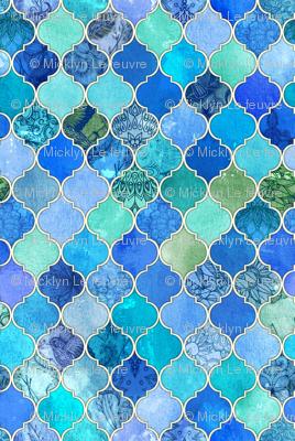 Wallpaper Cobalt Blue and Aqua Decorative Moroccan Tiles