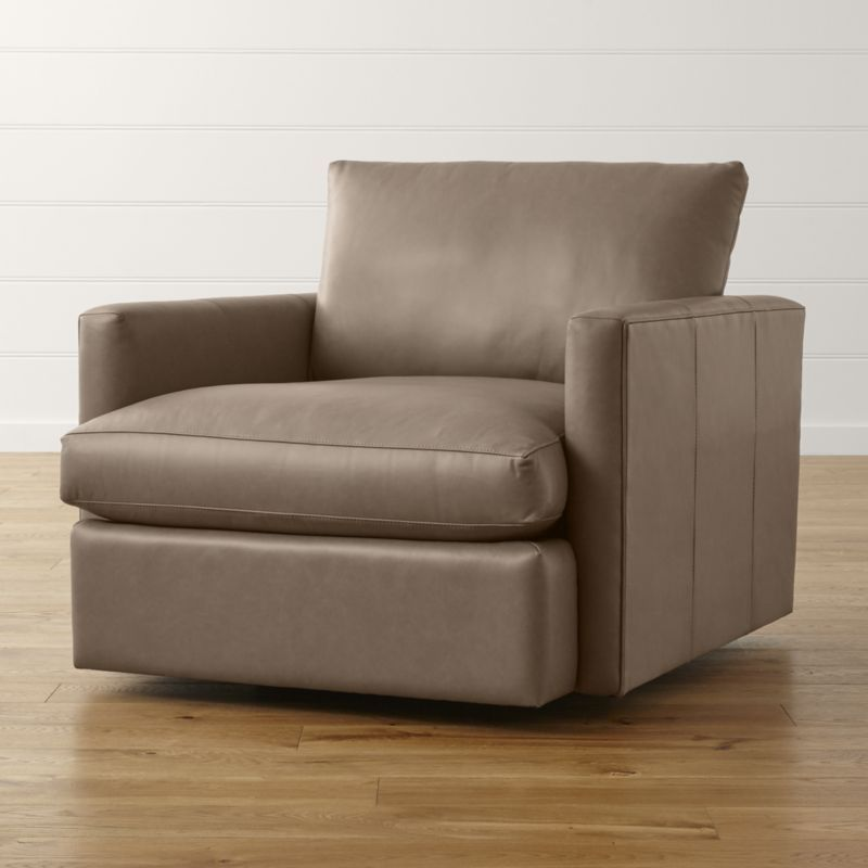 Lounge II Small Leather Swivel Chair + Reviews | Crate and ...