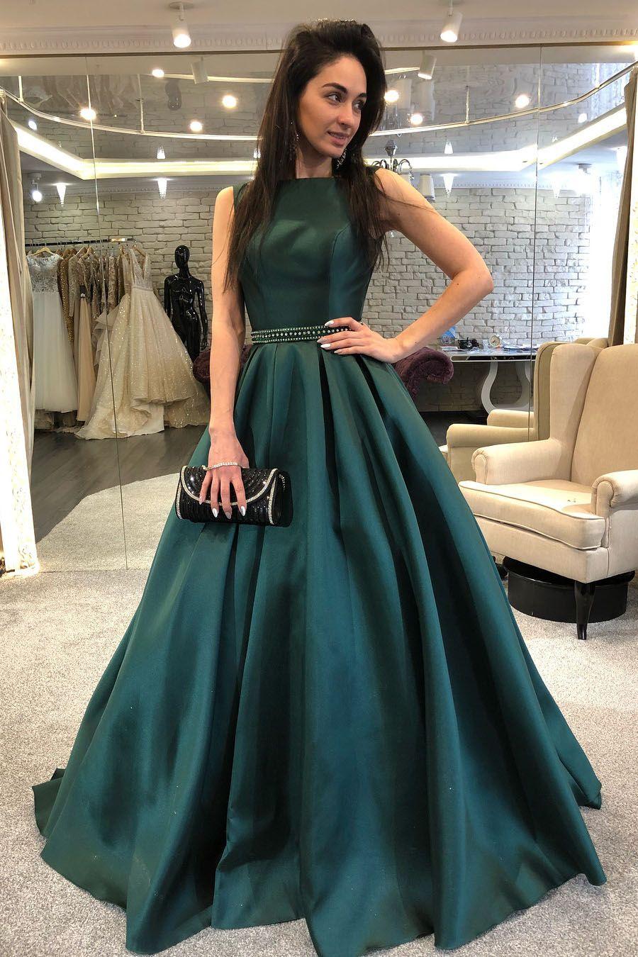Green backless prom dress  Elegant Aline Hunter Green Long Formal Evening Dress  SATIN