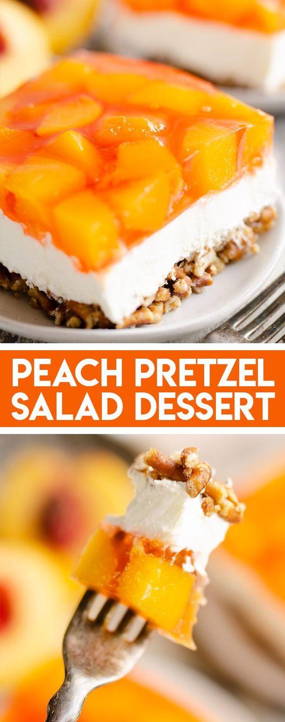 Peach Pretzel Salad Dessert #foodrecipies