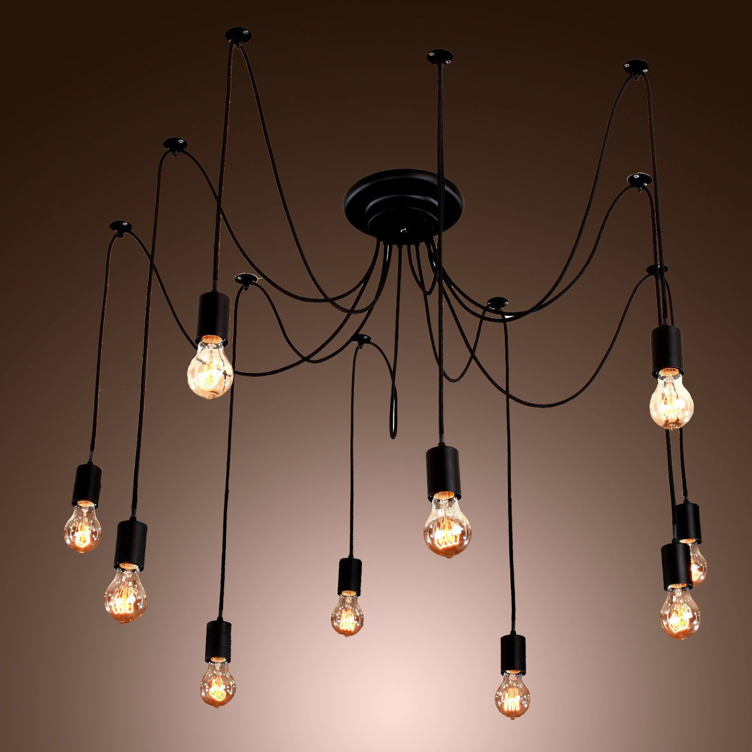 Edison Style 10 Lights Bulb Chandelier Ceiling Light Pendant Lamp