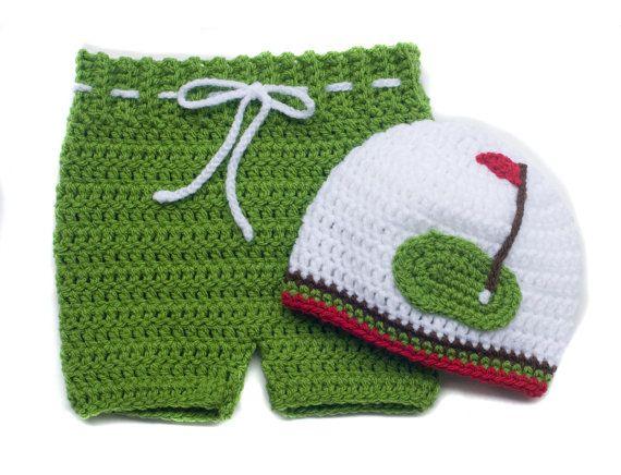 BABY GOLF CAP Hat & Diaper Cover Shorts Crocheted by Grandmabilt