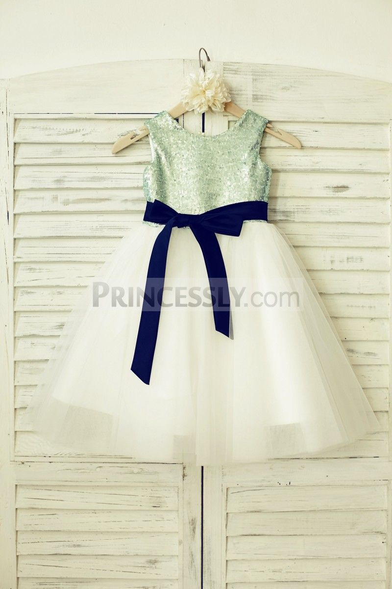 Mint sequin ivory tulle flower girl dress with navy blue sash