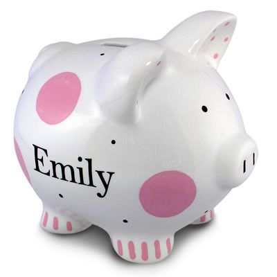 Polka dot piggy bank girl jack and jill boutique christmas pink polkadot piggy bank piggy banks these adorable ceramic piggy banks by little worm are hand painted and personalized with your childs name negle Choice Image