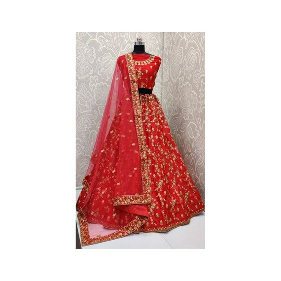 Red color multy embroidery work with diamond touch bridal wedding lehenga choli for women, chaniya choli, bridal lehenga, designer lehenga #chaniyacholi