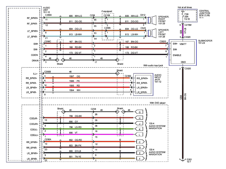 Diagrama de cableado de radio del Ford Explorer Sport 2001