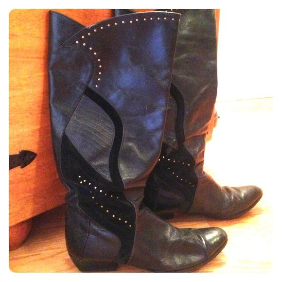Awesome 80's Boots! Black boots with super cute suede and studded detail. Vintage condition but I just put new soles on the shoes ($25 value right there :-) I need to sell as they are a bit too big on me.. Shoes